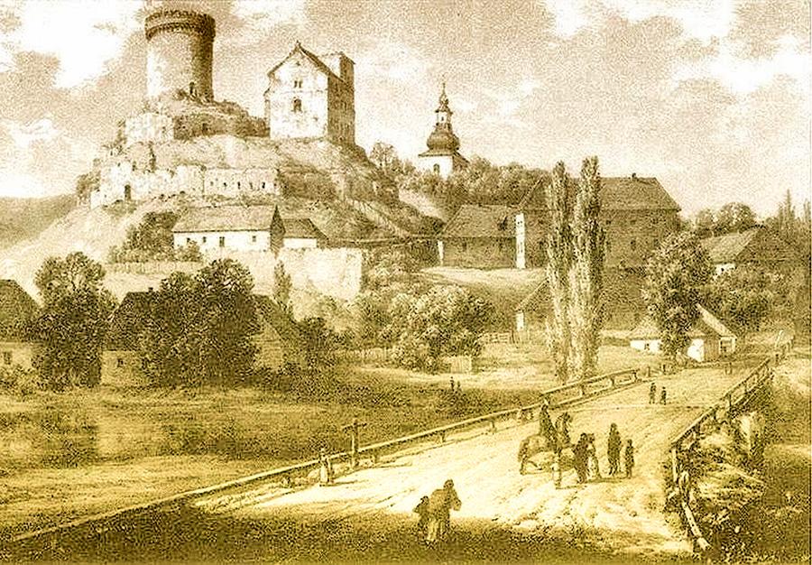 Zamek na litografii Napoleona Ordy 1880 rok.